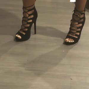 Black, suede, lace up, 5 inch heels